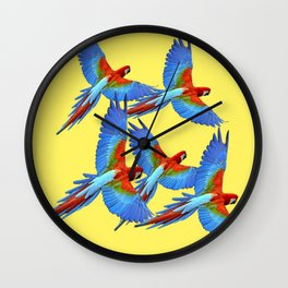 FLOCK OF BLUE MACAWS ON YELLOW Wall Clock