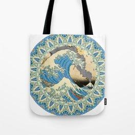 Great Wave Off Kanagawa Mount Fuji Eruption-Kaleidoscope Tote Bag