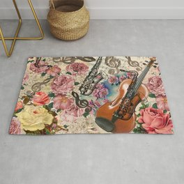 Vintage pink bohemian roses classical notes musical instruments Rug
