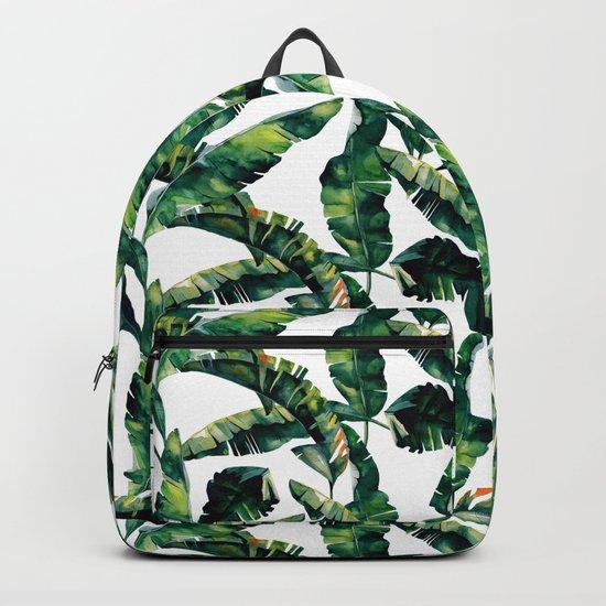 Banana Leaves Green on White Backpack