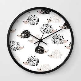 Hedgehog friends black and white spots Wall Clock