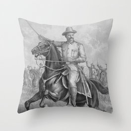 Colonel Roosevelt Leading Troops Throw Pillow