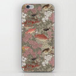 Fishes & Flowers - Seamless pattern iPhone Skin