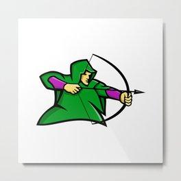 Medieval Archer Mascot Metal Print