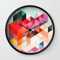 geo Wall Clocks featuring Heavy words 01. by Three of the Possessed