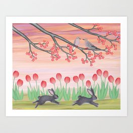 bunnies, tulips, and mourning doves Art Print