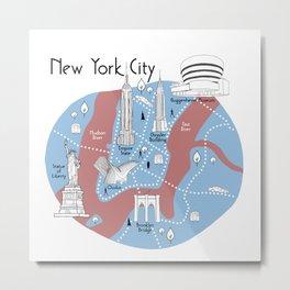 New York City Map - Original Metal Print