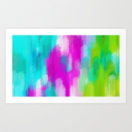 blue pink and green painting abstract background Art Print
