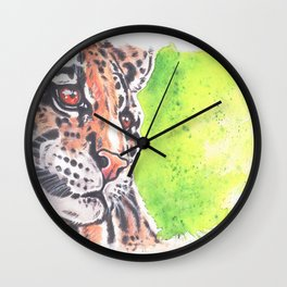 Wild Cat Cloud Leopard Watercolor painting Wall Clock