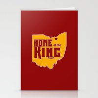 lebron Stationery Cards featuring Home of the King (Red) by Denise Zavagno