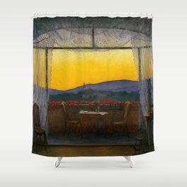 A Clean, Well-lighted Place (Room with a View) landscape painting by Harald Sohlberg Shower Curtain