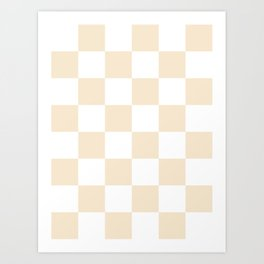 Large Checkered - White and Champagne Orange Art Print
