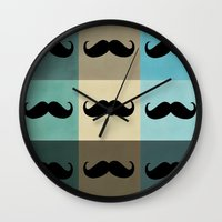 moustache Wall Clocks featuring Moustache by Zetanueta