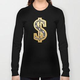 Golden dollar symbol decorated with diamonds Long Sleeve T-shirt