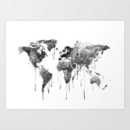 World map 2, black and white Art Print