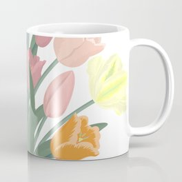 Bouquet of tulips in glass vase Coffee Mug