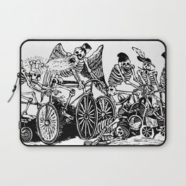 Calavera Cyclists | Day of the Dead | Dia de los Muertos | Skulls and Skeletons | Vintage Skeletons | Black and White |  Laptop Sleeve