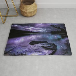 Magical Mountain Lake Purple Teal Rug