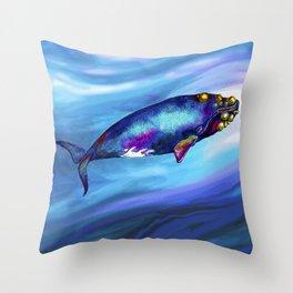 Bowhead Whale in the Blue Throw Pillow
