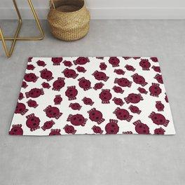 Cute Red Candy Skulls Pattern - Kawaii Goth Rug