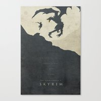 skyrim Canvas Prints featuring Dawning Fire - Skyrim Poster by Edward J. Moran II