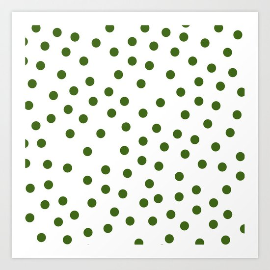 Simply Dots in Jungle Green Art Print