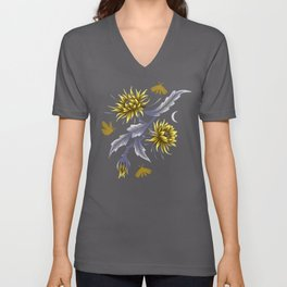 Queen of the Night - Grey Yellow Unisex V-Neck