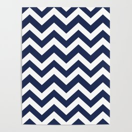 Space cadet - blue color - Zigzag Chevron Pattern Poster