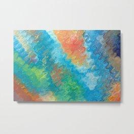 """Waves"" Original oil finger painting by Monika Toth Metal Print"