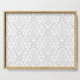 Vintage chic gray white abstract floral damask pattern Serving Tray