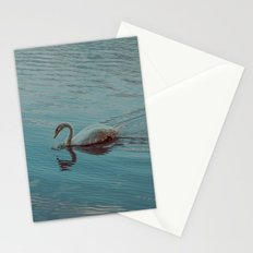Swan lake in blue Stationery Cards