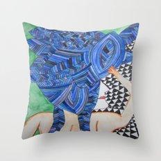 Blue Hair back Throw Pillow