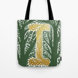Botanical Metallic Monogram - Letter I Tote Bag