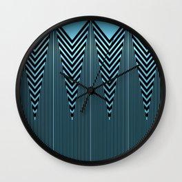 Gleaming Metallic Blue Art Deco Design Wall Clock