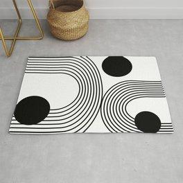 Modern Minimalist Line Art in Black and White Rug