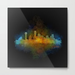 Dallas Texas City Skyline watercolor v04 Metal Print