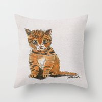 whisky Throw Pillows featuring Whisky, the Kitty by Gersin@Albatrostudio