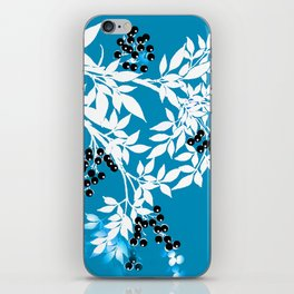 TREE BRANCHES BLUE AND WHITE WITH BLACK BERRIES TOILE iPhone Skin