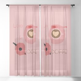 Love & Coffee Sheer Curtain