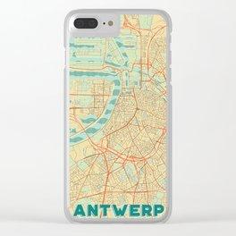 Antwerp Map Retro Clear iPhone Case
