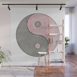 Yin Yang Esoteric Symbol Pastel Pink And Grey Wall Mural