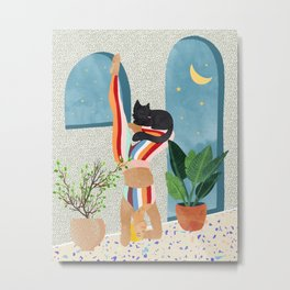 Headstand, Cat Yoga, Active Woman Workout, Eclectic Colorful Pets Terrazzo Metal Print