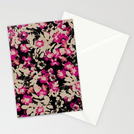 pink flower with silhouette leaves on black Stationery Cards
