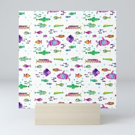 Catch all the fish! Tropical and colorful fishes swim in shoals Mini Art Print