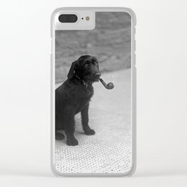 Pipe puffing dog. Clear iPhone Case