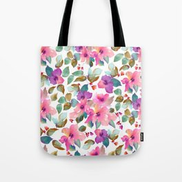 Pink and purplre florals. Watercolor flowers Tote Bag