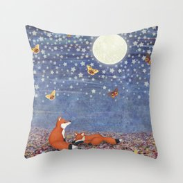 moonlit foxes Throw Pillow