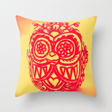 Day of the Dead Owl x-ray vision - red and yellow Throw Pillow