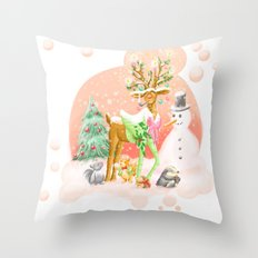 Reindeer Before Christmas Throw Pillow