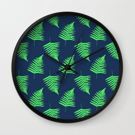 Navy and Lime Fern Pattern Wall Clock